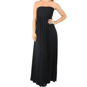 Fashion Cocktail Black Strapless Maxi Dress